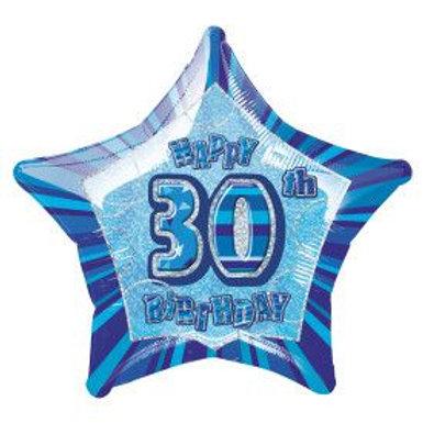 "Balloon Foil 18"" Happy Birthday 30 Blue"