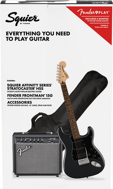 Squier Affinity Stratocaster 15G Package - Charcoal Frost Metallic