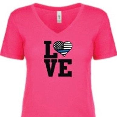 Pink V-Neck Love BlueLine Shirt