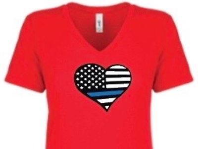 Red V-Neck Valentine Blueline Heart