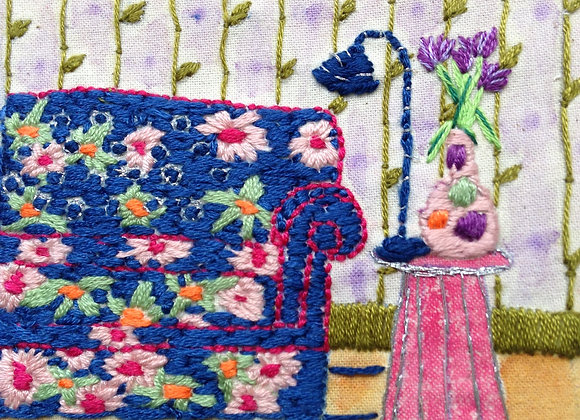 Blue Sofa - Wall Decoration - Small Embroidery