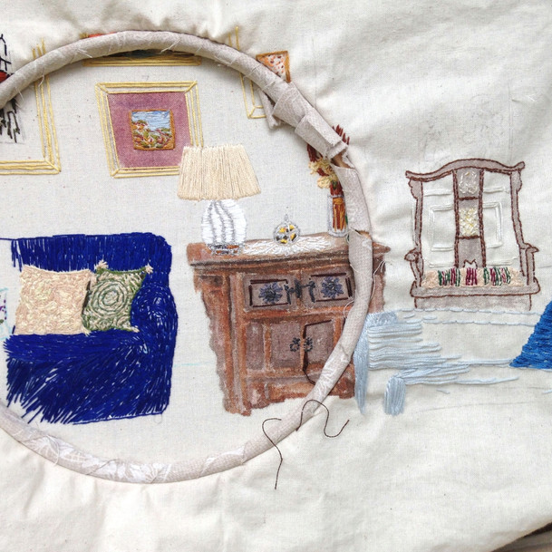 Work in progress, mixed media, embroidery and watercolours.