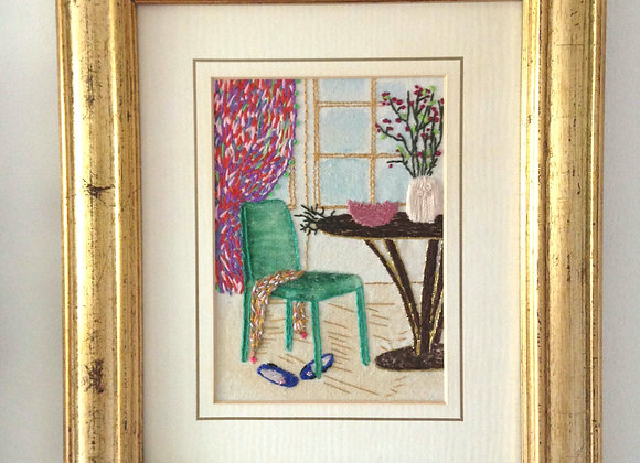 Green Chair - Framed Wall Decoration