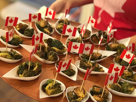 Deep-fried Brussels Sprouts - sporting Canadian pride