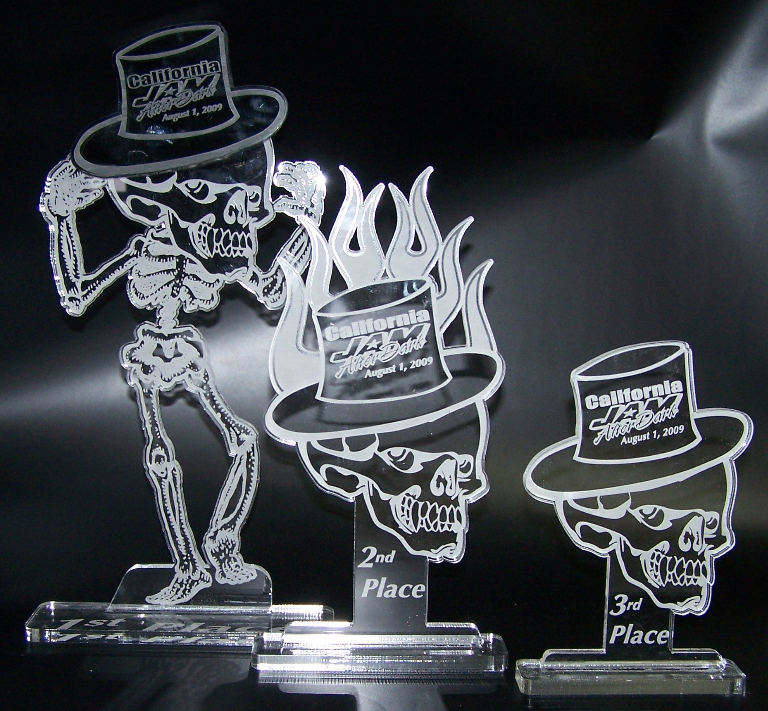Custom Acrylic awards cut and etched