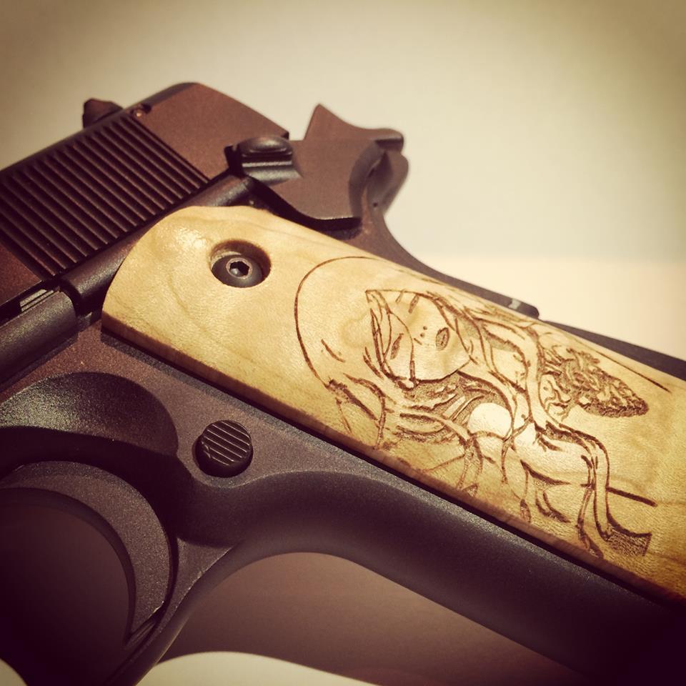 Gun Handle engraved