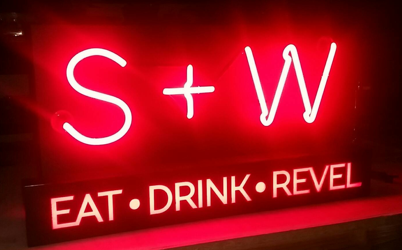 s and w neon sign