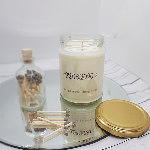 Date of Wedding Jar Candle