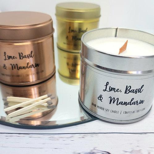 Lime, Basil & Mandarin Tin Candle