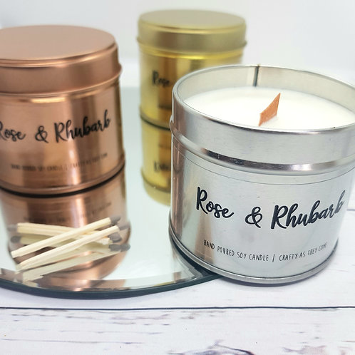 Rose and Rhubarb Tin Candle