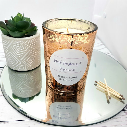 Black Raspberry and Peppercorn Luxury Rose Gold Candle
