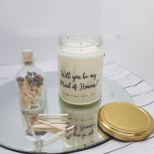 'Will you be my Maid of Honour?' Jar Candle