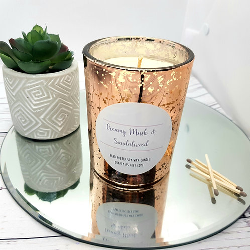 Creamy Musk and Sandalwood Luxury Rose Gold Candle