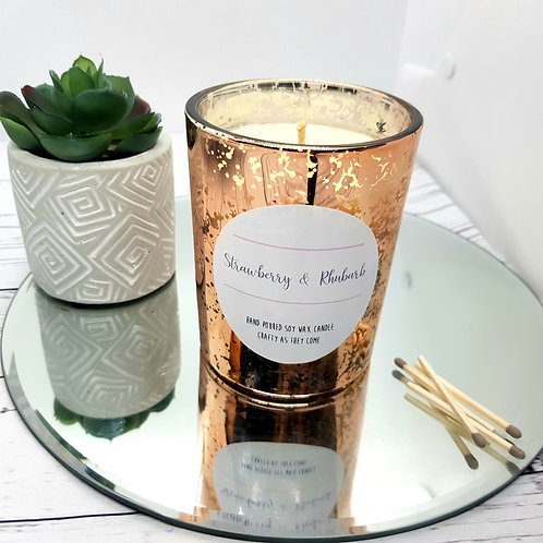 Strawberry and Rhubarb Luxury Rose Gold Candle