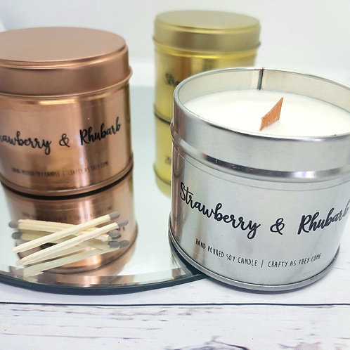 Strawberry and Rhubarb Tin Candle