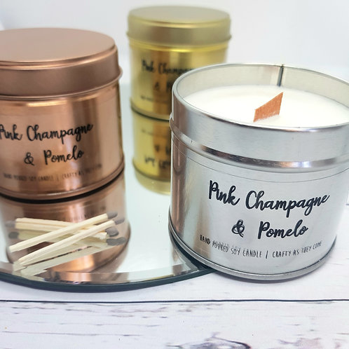 Pink Champagne and Pomelo Tin Candle