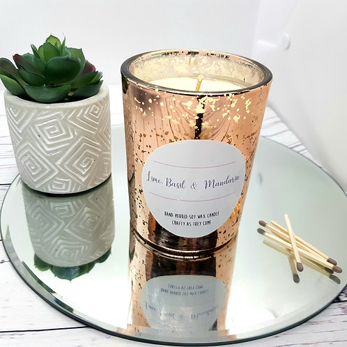 Lime, Basil and Mandarin Luxury Rose Gold Candle