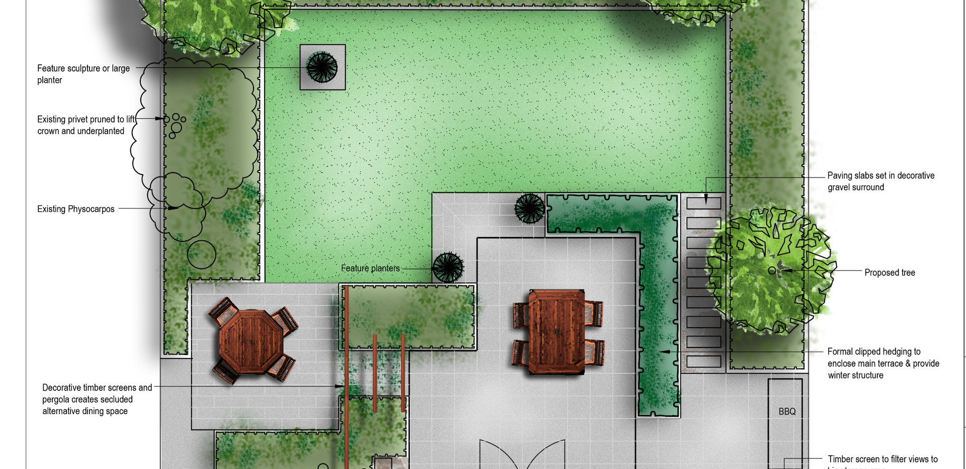 small contemporary rear garden