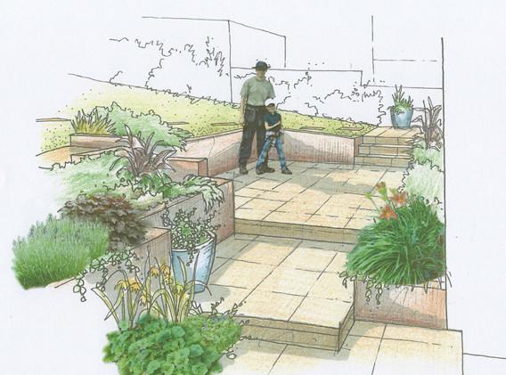 overlapping garden terraces