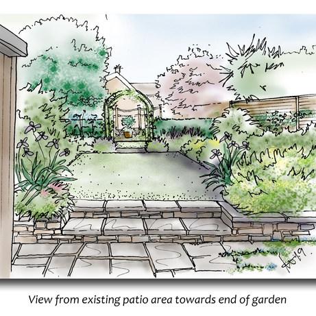 Long, thin cottage garden