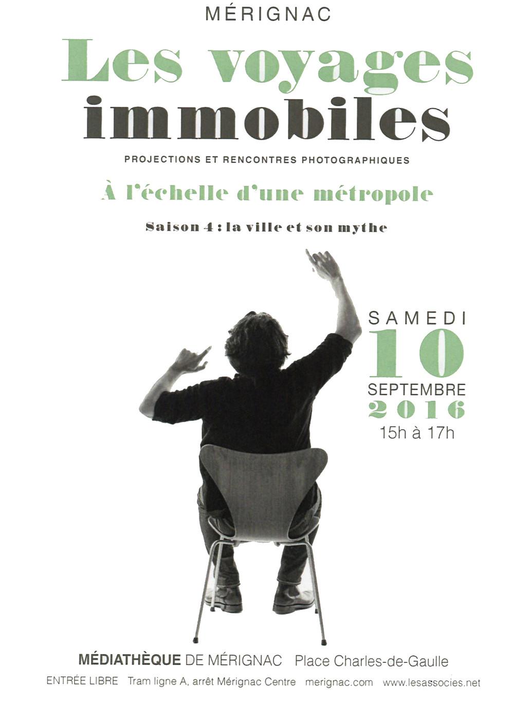 """Rendez vous samedi 10 septembre à 15h à l'auditorium de la médiathèque de Mérignac pour la clôture du cycle """"A l'échelle d'une métropole"""" autour du thème """"La ville et son mythe""""."""