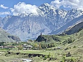 Scenic landscape of the village of Sioni in Kazbegi, Georgia