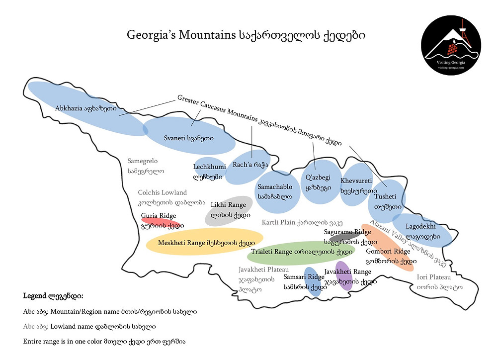 map of Georgia's geographic regions