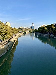 The Mtkvari River (Kura River) in central Tbilisi.