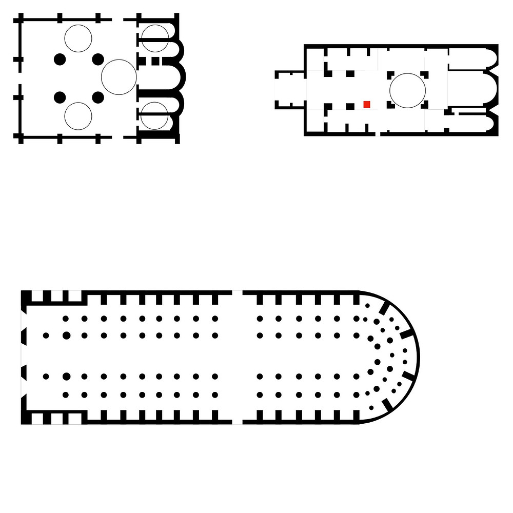 The floor plans of the Cathedral of the Formation, Svetitskhoveli Cathedral, and Notre Dame de Paris.