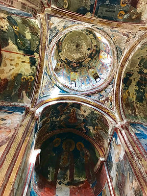 The interior of the central dome with its original artwork in Geleti Monastery near Kutaisi, Georgia.