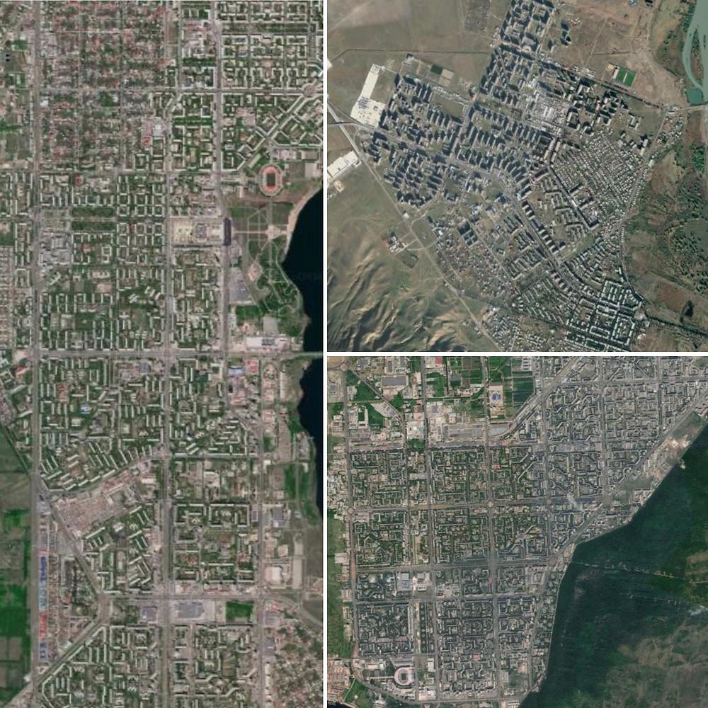 Soviet cities of Magnitogorsk, Rustavi, and Tolyatti