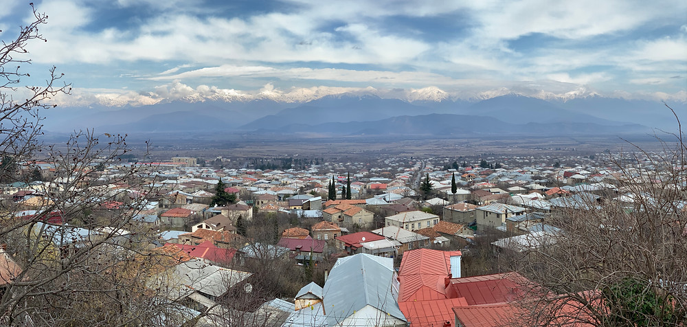 The Alazani Valley from Telavi with the Greater Caucasus Mountains as the backdrop