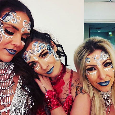 Dazzling dancers ready for show time #ricoharena #makeupartist #facepainting #whimsical#area51crew_e