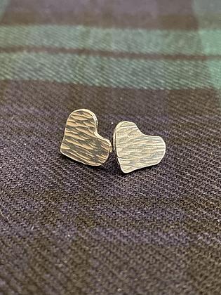 Love heart hammered stud earrings