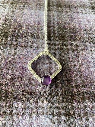 Square Amethyst hammered necklace