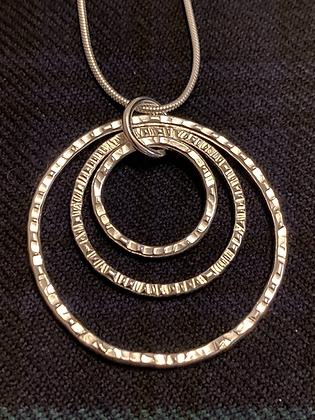 3 Circle Hammered  pendant