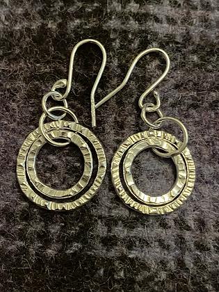 2 loop Hammered circle earrings