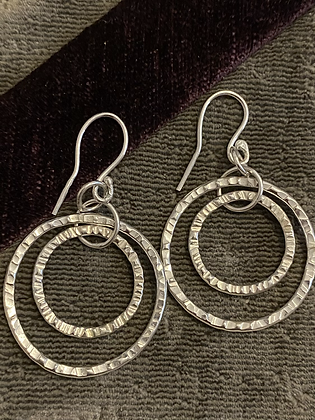 Large and small  hammered earrings