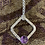 Thumbnail: Square Amethyst hammered necklace
