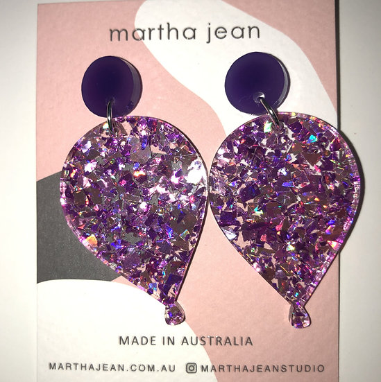 ERC Earrings (purple Glitter Balloon)