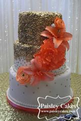 Gold Sequin Cascade Wedding Cake