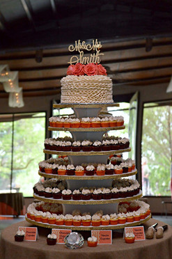 Gold and Coral Cupcake Tower Wedding Cake