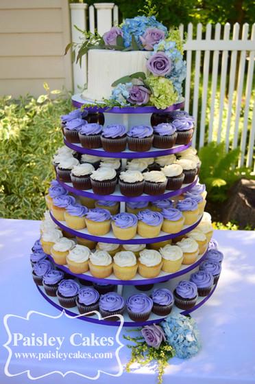 Spring Flower Cupcake Tower Wedding cake