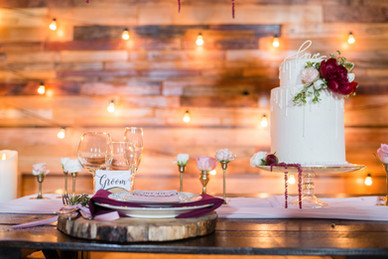 White Drip Wedding Cake with tablescape