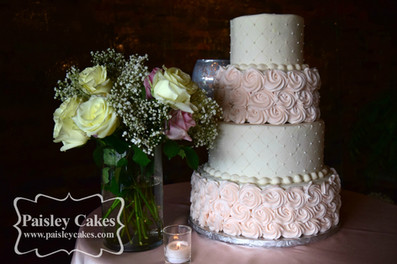 Blush Pink Buttercream Rosette and Quilted Wedding Cake