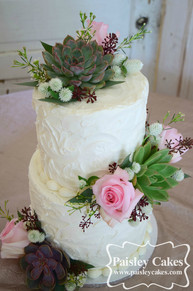 Textured Buttercream Wedding cake with succulents and roses.