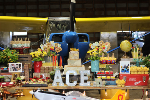 Airplane Themed Birthday Dessert Buffet