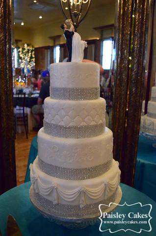 Irridescent Fondant Wedding Cake with Rhinestones