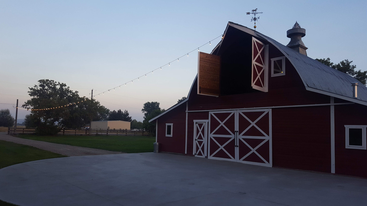 Loft Doors Open and Side Yard of Red Barn Events Center
