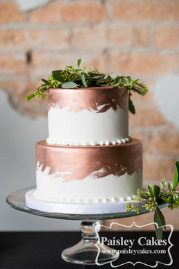 Painted Copper Fondant Wedding Cake